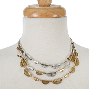 "Two tone, three layer necklace with a hammered texture. Approximately 16"" in length."