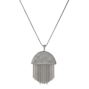 """Silver tone necklace with a half circle shape and chain fringe. Adjustable up to 32"""" in length."""