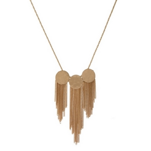 "Gold tone necklace with three hammered circle pendants and chain fringe. Approximately 18"" in length."