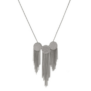 "Silver tone necklace with three hammered circle pendants and chain fringe. Approximately 18"" in length."