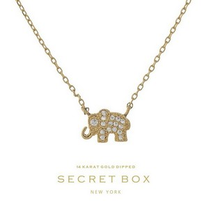"Secret Box 14 Karat Gold Dipped over brass elephant pendant necklace. 16"" in length. Pendant 10mm in length."