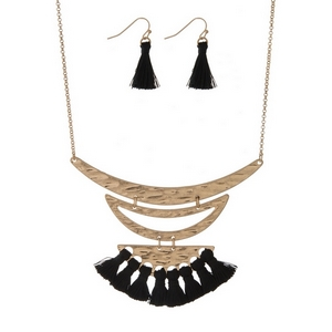 """Gold tone necklace set with black thread tassels and matching fishhook earrings. Approximately 16"""" in length."""