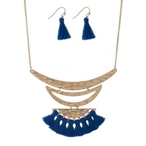 """Gold tone necklace set with blue thread tassels and matching fishhook earrings. Approximately 16"""" in length."""