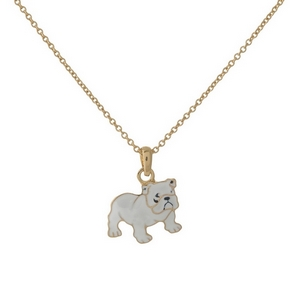 "Dainty gold tone necklace with a white bulldog pendant. Approximately 16"" in length."