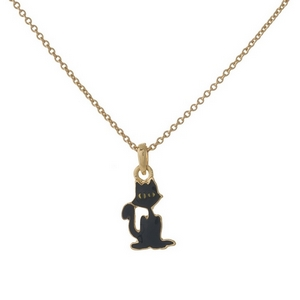 "Dainty gold tone necklace with a black cat pendant. Approximately 16"" in length."