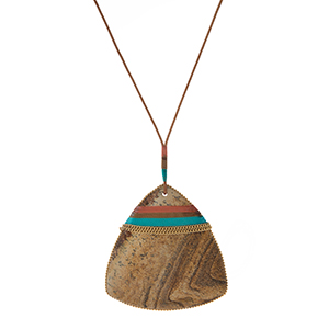"Genuine leather necklace with a picture jasper natural stone, triangle pendant. Approximately 32"" in length. Each stone varies in color and shape."