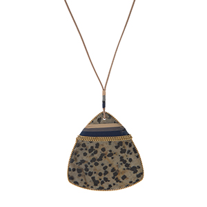 "Genuine leather necklace with a dalmatian jasper natural stone, triangle pendant. Approximately 32"" in length. Each stone varies in color and shape."