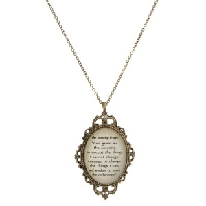 """Metal necklace with a Victorian pendant and The Serenity Prayer. Approximately 30"""" in length."""