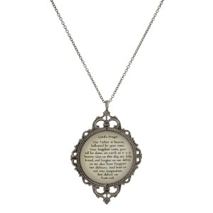 "Metal necklace with a Victorian pendant and The Lord's Prayer. Approximately 30"" in length."