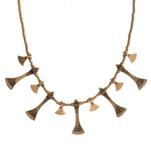 """Gold tone beaded necklace with hammered, bohemian charms. Approximately 16"""" in length."""