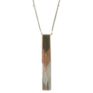 "Metal necklace with a tapered chain tassel pendant and bead accents. Approximately 28"" in length."