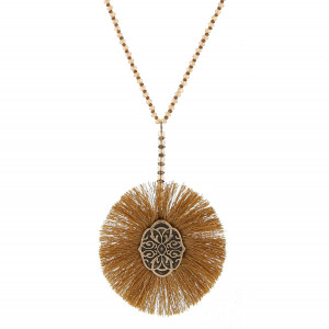 "Burnished gold tone necklace with a half beaded chain and fanned tassel, circle pendant. Approximately 28"" in length."