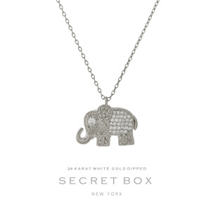 "Secret Box 24 karat white gold over brass elephant pendant necklace. Approximately 16"" in length. Sold in gift box."