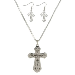 """Metal necklace set with a two part cross pendant, stamped with John 3:16 and matching fishhook earrings. Approximately 27"""" in length."""