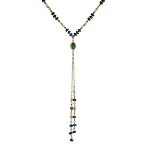 """Gold tone 'Y' necklace with natural stones and faceted bead accents. Approximately 22"""" in length. Handmade in the USA."""