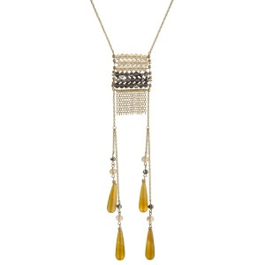 "Gold tone necklace with beaded square pendant and natural stones. Approximately 30"" in length."