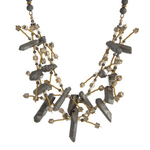 """Natural stone beaded two row necklace with pyrite crystal stones. Approximately 16"""" and 18"""" in length. Handmade in the USA."""