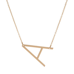 """Dainty gold tone necklace with a 1.5"""" sideways, initial pendant. Approximately 16"""" in length."""