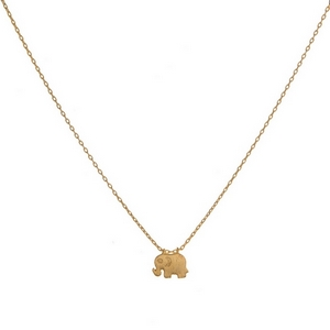 """Dainty metal necklace with a small elephant pendant. Approximately 16"""" in length."""