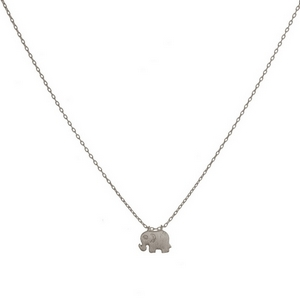 "Dainty metal necklace with a small elephant pendant. Approximately 16"" in length."