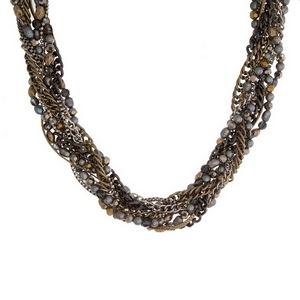 """Silver tone, statement necklace with braided rows of gray and bronze beads. Approximately 18"""" in length."""