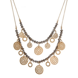 """Gold tone, two layer necklaces with beaded accents and matte circle accents. Approximately 16"""" and 18"""" in length."""