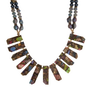 """Beaded statement necklace with multicolored, natural stone pendants and gold tone accents. Approximately 18"""" in length. Handmade in the USA."""