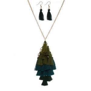 """Gold tone necklace set with an ombre, tiered, tassel pendant and matching fishhook earrings. Approximately 26"""" in length."""