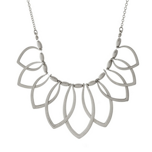 """Short, metal necklace with open oval shaped pendants. Approximately 16"""" in length."""