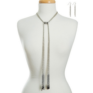 "Silver tone necklace set with a tie front and a gray beaded accents. Approximately 16"" in length."
