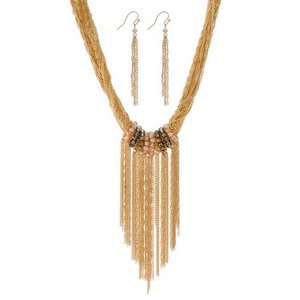 "Multi-strand, statement necklace set with beaded accents and a chain fringe focal. Approximately 16"" in length."