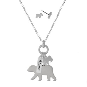 "Silver tone necklace set with mama bear charms and matching stud earrings. Approximately 33"" in length."