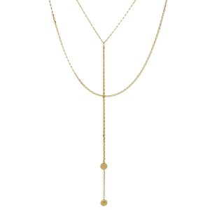 """Two layer Y necklace with circle link chain. Approximately 18"""" and 20"""" in length."""