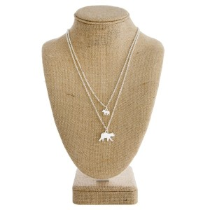 """Layered necklace with """"Mama Bear"""" charms and matching stud earrings. Approximately 16"""" in length."""