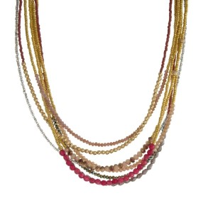 """Gold tone, multi layered necklace with seed beads and faceted beads. Approximately 15"""" in length."""