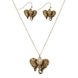 "Dainty necklace set with an elephant head pendant and matching fishhook earrings. Approximately 16"" in length."