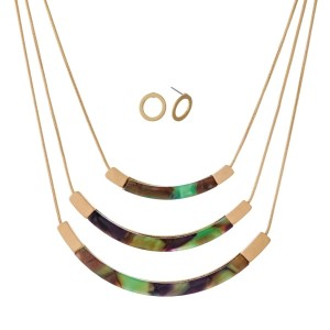 "Short, three layer necklace set with curved acetate bars and matching stud earrings. Approximately 14"" to 16"" in length."