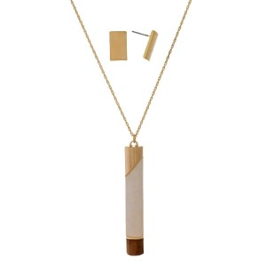 "Long necklace set with a natural stone and wooden bar pendant and matching stud earrings. Approximately 32"" in length."