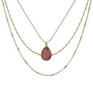 """Dainty, three layer, gold tone necklace with a druzy, natural stone pendant. Approximately 14"""" to 16""""  in length."""