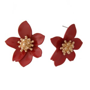 """Gold tone post earring with metal flower shape. Approximately 1.5"""" in length."""