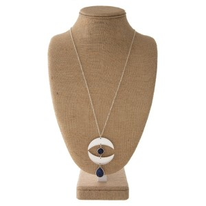"""Long metal necklace with a boho pendant. Approximately 32"""" in length with a 3"""" pendant."""