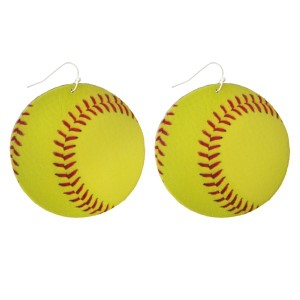 "Faux suede earring in a softball shape. Approximately 2"" in diameter"