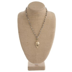 """Short natural stone necklace with gold arrowhead pendant. Approximately 18"""" in length."""