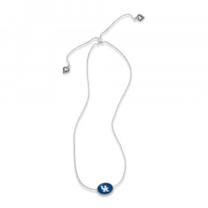 """Officially licensed, silver tone necklace with oval pendant and university logo. Approximately 16"""" in length."""