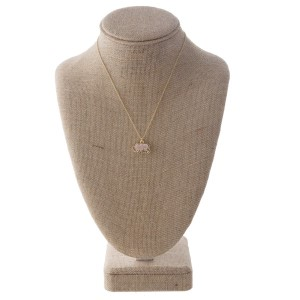 """Short gold necklace with faux druzy elephant charm. Approximately 16"""" in length."""