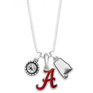 "Officially licensed metal necklace with university logo. Approximately 16"" in length."
