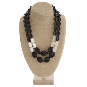 "Statement acrylic bead necklace. Approximately 24"" in length."