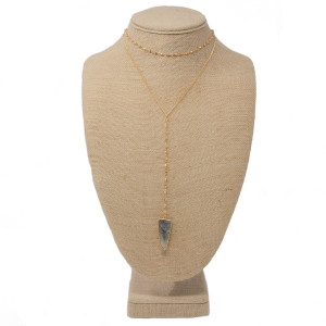 "Gold tone layered necklace with natural stone pendant. Approximately 14-16"" in length with a 5"" Y."