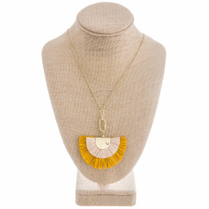 """Gorgeous Long metal necklace with fanned tassel pendant. Approximate 36"""" in length with 2.5"""" in pendant."""