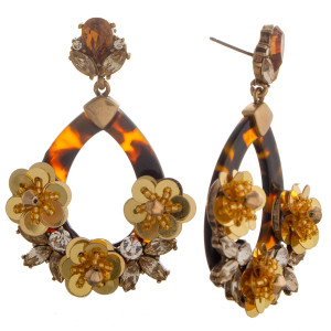 Short acetate earrings with rhinestone and crystal details.  Approximate 1.5 in length.